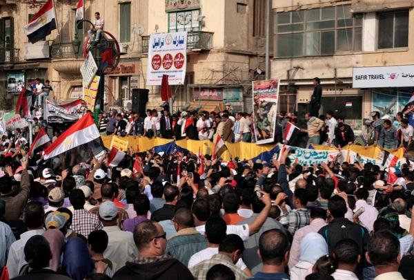 Listening to Khaled Said's mother speak at Tahrir Square, Friday 1 April (photo: Lisa Goldman)