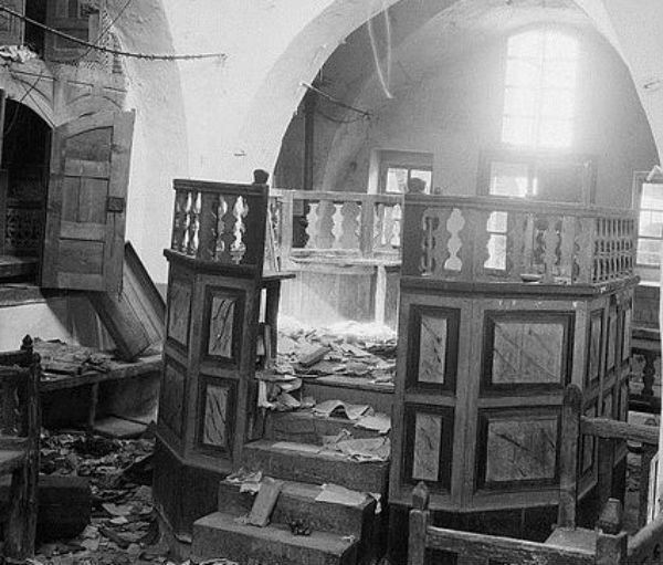 A synagogue desecrated in Hebron during the 1929 riots in the city.
