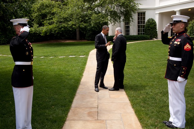 President Obama talks with Prime Minister Netanyahu as they walk from the Oval Office, following their meetings, May 20, 2011 (Official White House Photo by Pete Souza)