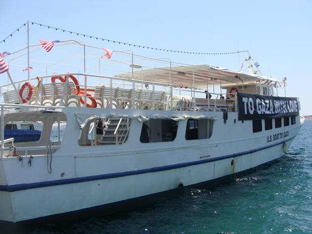 The US boat of the 2011 Gaza-bound flotilla at Piraeus port, Greece (photo: Mya Guarnieri)