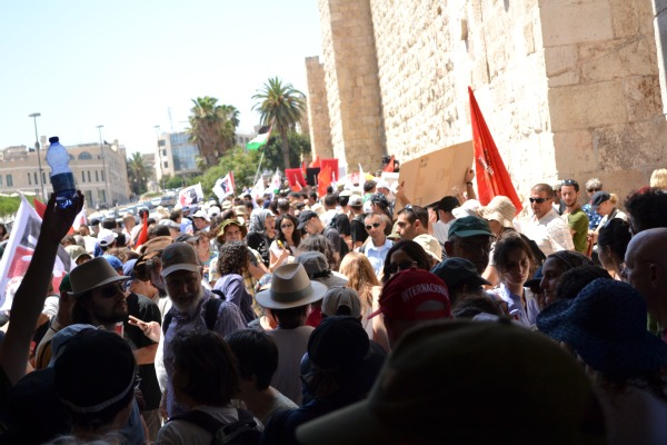 Leaving Jaffa Gate to march toward Sheikh Jarrah in support of Palestinian independence, 14 July, 2011 (Photo: Dahlia Scheindlin)