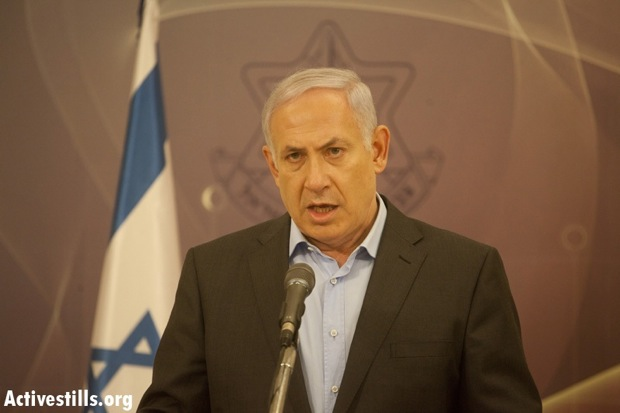 PM Netanyahu blaming PRC for Eilat attack at press conference (Photo: Activestills)