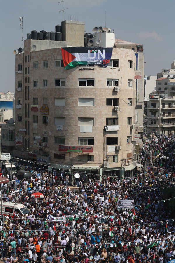 Thousands take to the streets in Ramallah on September 21, 2011 Photo By Joseph Dana