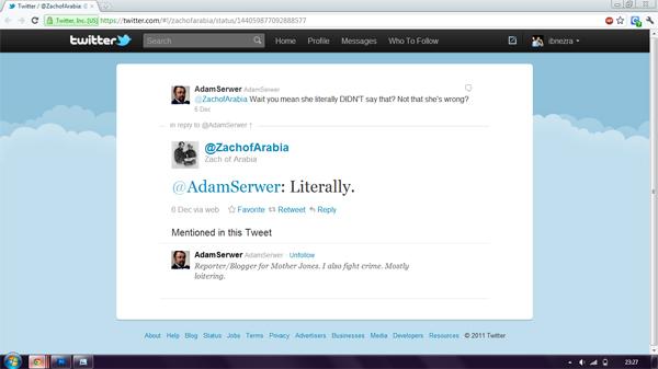 Zach of Arabia tweets to Adam Serwer