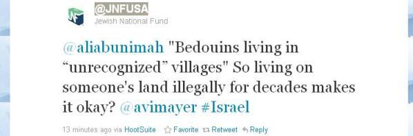 Twitter reveals JNF's approach toward Palestinian Bedouin