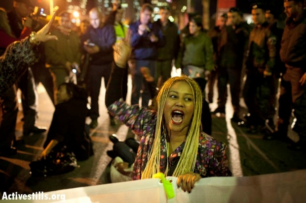 Protester at a demonstration against the discrimination and racism against Ethiopian-Jews in center Tel Aviv, January 31, 2012 (photo: Oren Ziv/ Activestills.org)