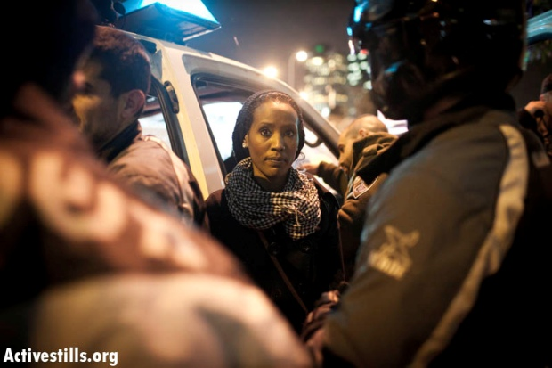 Protester at a demonstration against the discrimination of Ethiopian Jews (photo: Oren Ziv/activestills)