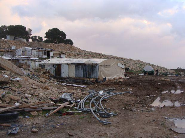 Two structures in Bedouin village Jabal al Baba (Ras al Baba) (photo: Mya Guarnieri)
