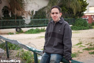 Ilya Fox outside the induction base at Tel Hashomer (Oren Ziv / Activestills)