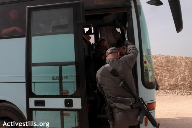 The Harvard bus boarded by Israeli border police (Anne Paq / Activestills)