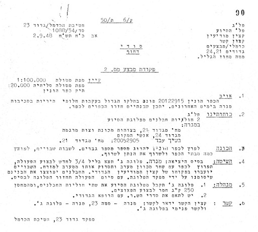 Hagana document calling on soldiers to enter a village, kill and burn