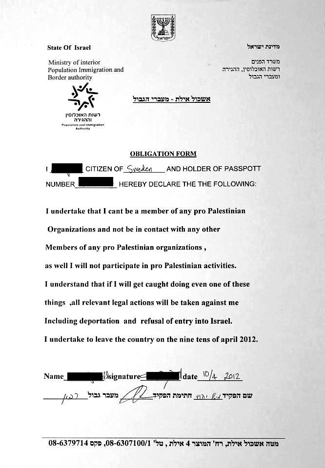 Exclusive: 'Political contract' required to enter Israel?