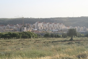 The settlement on Bil'in lands and the wall (Haggai Matar)