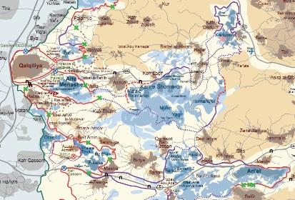 """The Ariel and Qeddumin """"fingers"""" streching east (Map: B'Tselem)"""