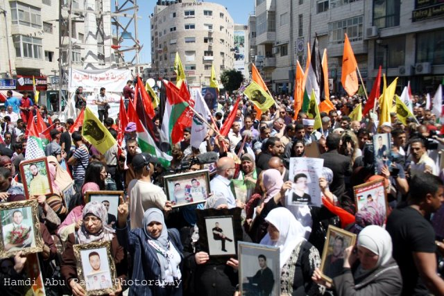 Prisoners' Day demonstration in Ramallah (Hamde Abu)