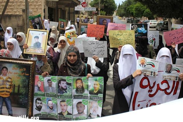 Demonstration in support of prisoners, Nablus (Ahmad Al-Bazz / Activestills)