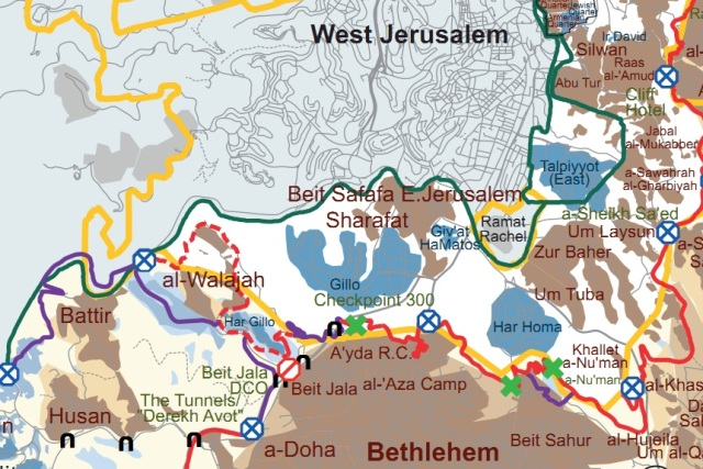"The red and purpel ""heart"" around Walajah is the wall (map by B'Tselem)"