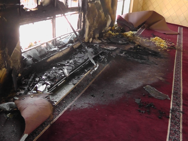 Price tag attack: Inside a torched mosque in Jeba, near Ramallah (photo: Iad Hadad/B'Tselem)