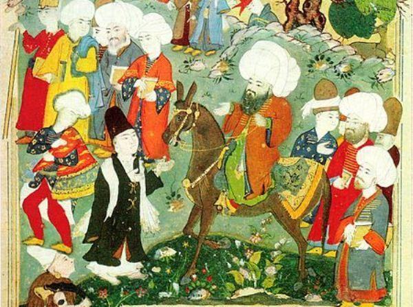 The meeting of Mevlana Celaleddin-i Rumi and Molla Shams al-Din in Konya (Image: Wikimedia Commons)
