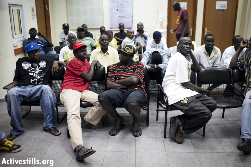 African immigrants and asylum seekers in a holding center in Holon on Monday (photo: Oren Ziv/Activestills)