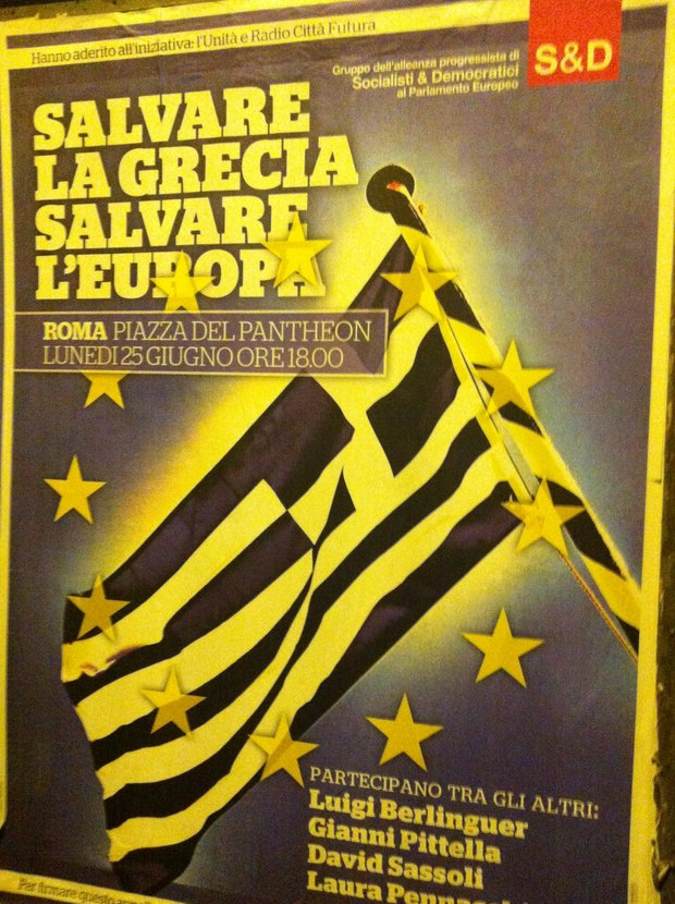 Posted by Italy's Democratic Party called for supporting Greece to save Europe, Rome, Italy, June 24, 2012 (photo: Roee Ruttenberg)