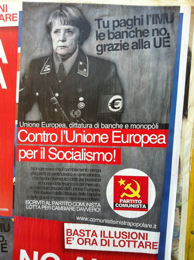 Italian Communist party likens Merkel to Hitler, Rome, Italy, June 24, 2012 (photo: Roee Ruttenberg)