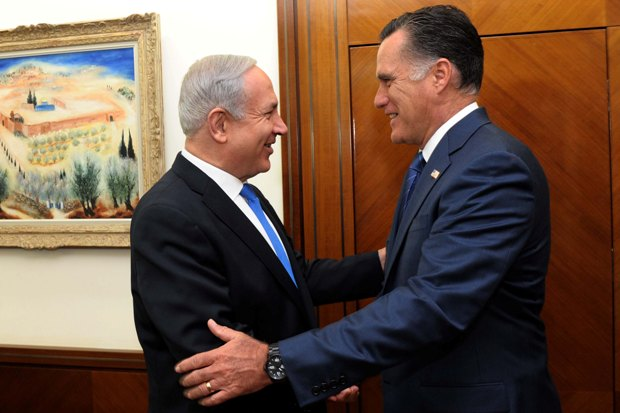 Prime Minister Benjamin Netanyahu and Republican nominee Mitt Romney, July 29 2012 (photo: Avi Ochayon/GPO)