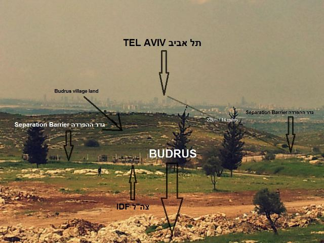 View from Budrus cemetery mount to Tel Aviv (Photo and infographics: Ruth Edmonds)