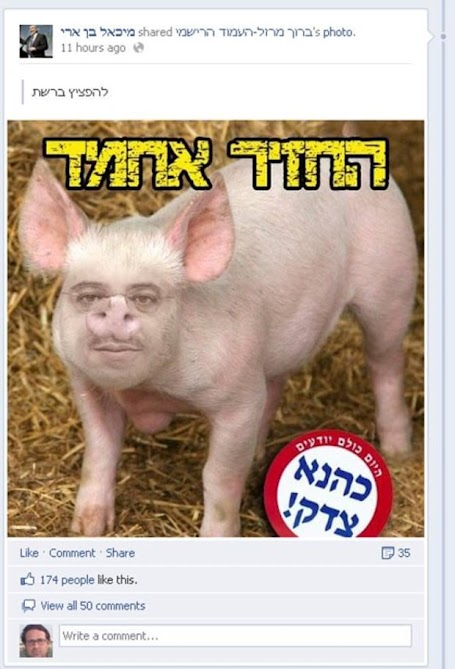 "Screenshot from Michael Ben-Ari's Facebook page. Top text says: ""The pig Ahmad"". Sticker below says: ""Today everyone knows: Kahane was right!"""