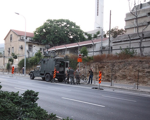 Military surveillance vehicle reappears to track Tel Aviv protest