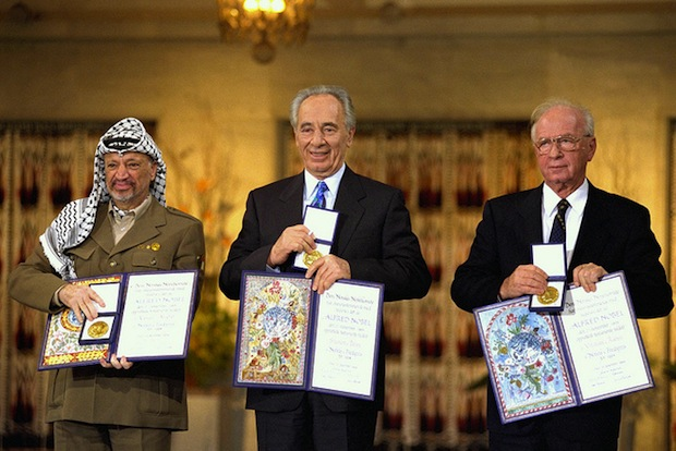 Nobel Peace Prize Laureates Arafat, Rabin and Peres 1994 (GPO/BY NC SA 2.0)