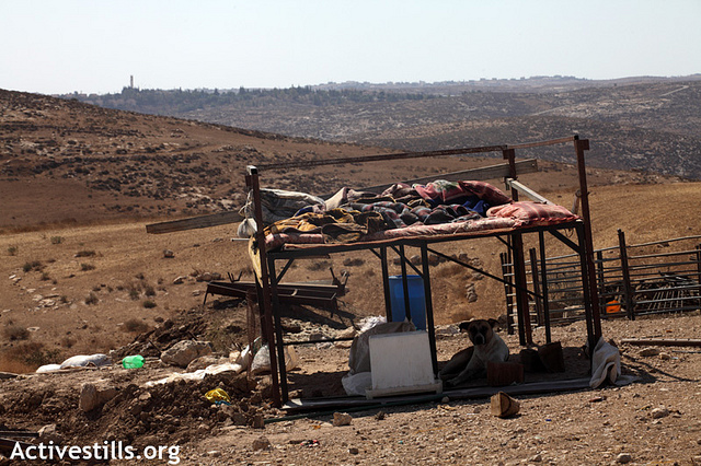 Some remaining furniture of a residential structure that was demolished by the Israeli army in Khirbet Zanuta, South Hebron Hills, August 28, 2012.(photo: Anne Paq/Activestills.org)