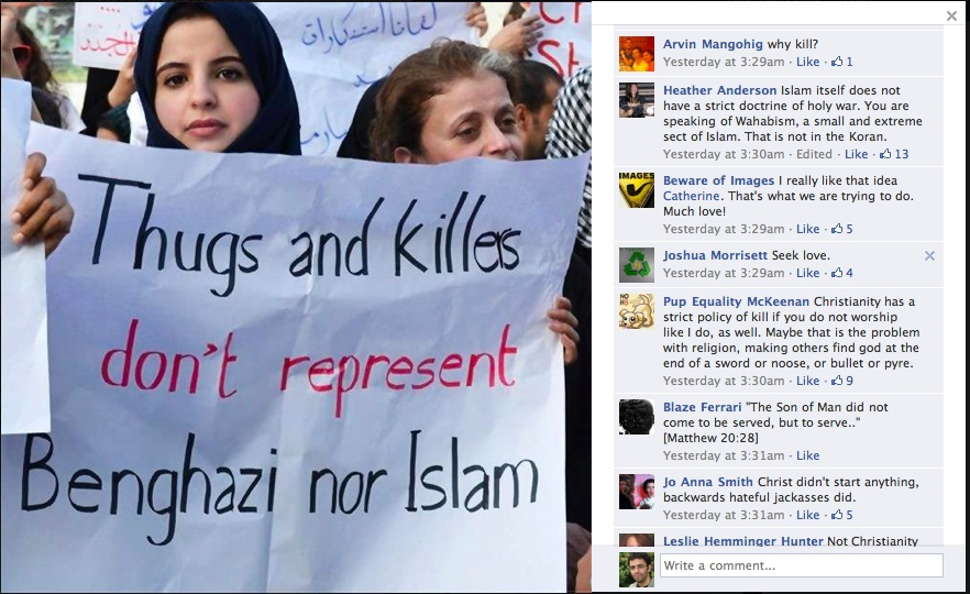 Muslims protesting the killing of the American Ambassador in Libya (facebook)