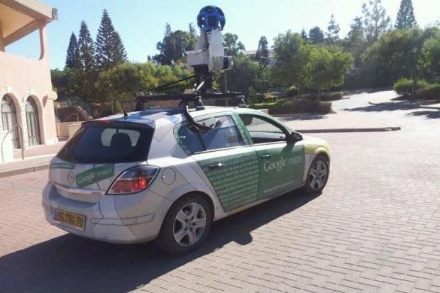 Google Street View car in the West Bank settlement of Elkana.