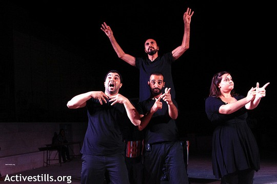 A Freedom Bus ensemble performs interactive playback theatre in Aida Refugee Camp, September 27, 2012. (photo: Anne Paq/Activestills.org)