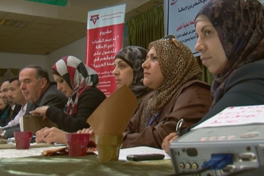 """Four candidates from """"Women's List"""" take on the men in Hebron debate, Oct 18, 2012 (photo: DC)"""