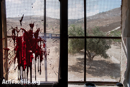 An olive tree is seen through a window stained by red paint from an attack by Israeli settlers on a home in the West Bank village of Burin, October 9, 2012. Burin has been a frequent target of attacks by settlers from the nearby Israeli settlement of Yitzhar. All Israeli settlements in the occupied territories are considered illegal under international law. (photo: Ryan Rodrick Beiler/Activestills.org)