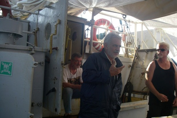 Pro-Palestinian activists hold a discussion aboard the Estelle boat.