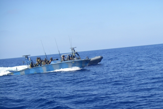 An Israeli Navy boat approaches the Estelle as it attempts to break the naval blockade of the Gaza Strip.