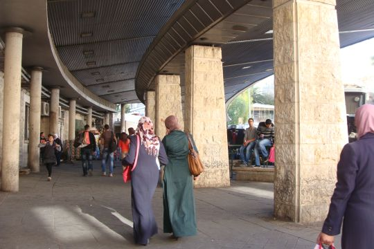 "The ""Central Bus Station"" in East Jerusalem where Palestinian residents of Jerusalem catch buses to the West Bank, including the line I take to Area B."