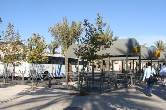 One of the three large bus terminals in East Jerusalem that serve Palestinian residents. From this station, lines head to Sur Bahir, Atarot, and elsewhere. Sur Bahir is a Palestinian village of East Jerusalem, which Israel unilaterally annexed after the Six Day War in 1967. Palestinian residents pay taxes to Israel like Jewish Israelis but have a special bus to the area. Atarot is also occupied land and a large industrial park is found there, where many of the businesses are Jewish-owned. Yet Palestinian workers take a separate bus line to Atarot from their Jewish bosses and coworkers.