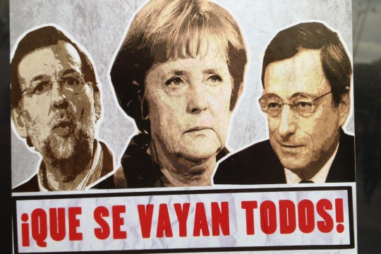 Anti-Merkel and anti-Rajoy poster on display during Madrid demonstration, 14 Nov 2012 (photo: Roee Ruttenberg)