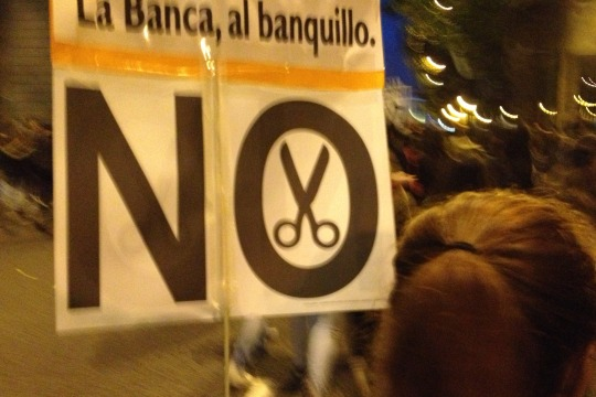 Spanish demonstrators to NO to spending cuts, Madrid, 14 Nov 2012 (photo: Roee Ruttenberg)