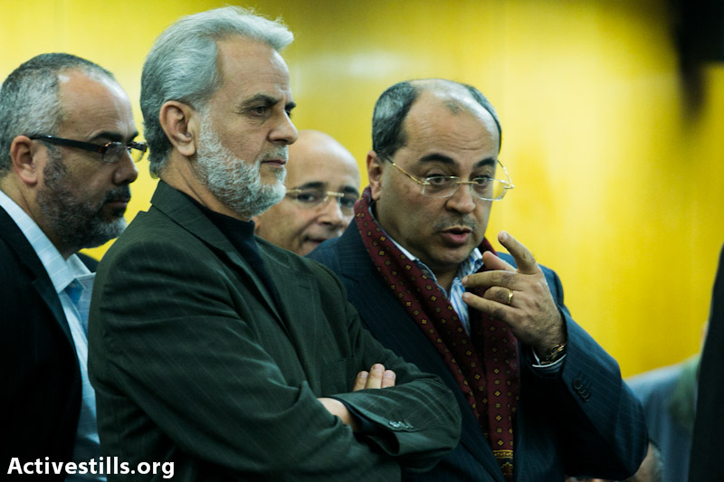 MK Ibrahim Zarzur (center) and MK Ahmad Tibi. (photo: Yotam Ronen / activestills.org)