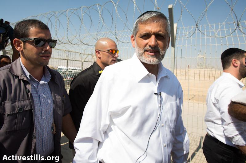Eli Yishai visit detention camps for Asylum Seekers in the south (photo: Yotam Ronen / Activestills.org)
