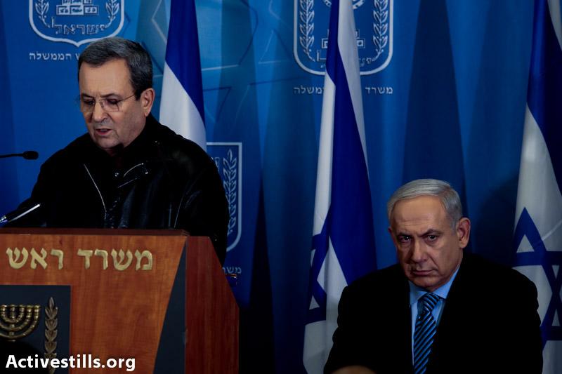 Ehud Barak and Binyamin Netanyahu. (photo: Yotam Ronen / Activestills.org)