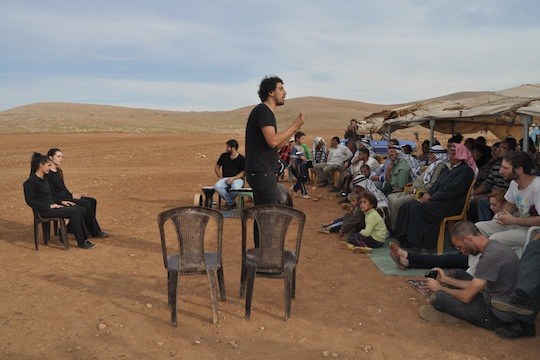 The Freedom Theater performing for the residents of Al-Hadidiya. (Marta Fortunato)