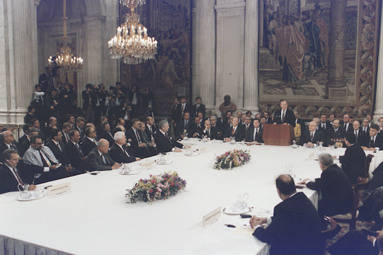 President Bush addresses the Middle East Peace Conference at the Royal Palace in Madrid, Spain (photo: David Valdez / George Bush Library)