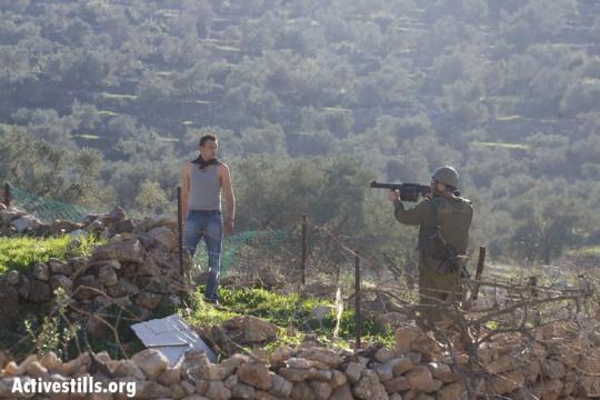 Illustration: Soldier aiming grenade launcher directly at demonstrator, Nabi Saleh (Yotam Ronen / ActiveStills)