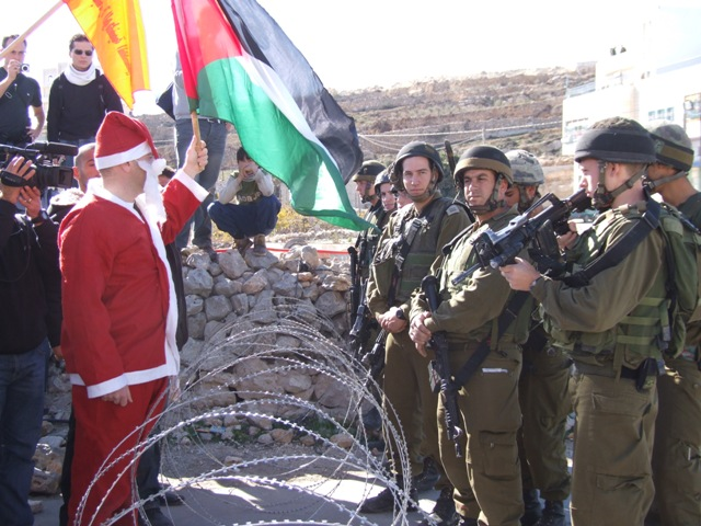 Anti-wall Christmas demonstration in Ma'asara, south of Bethlehem, 2008 (Haggai Matar)
